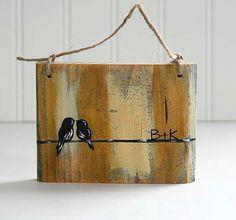 Rustic Valentines Gift Wood Bird Art Wood by LindaFehlenGallery