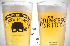 Princess Bride Beer Pint Glass $8