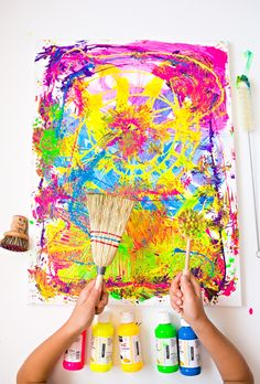 Cleaning brushes painting with kids: fun process art project. Art Journal Pages, Art Journals, Art Projects For Teens, Art For Kids, Crafts For Kids, Arts And Crafts, Kids Fun, Easy Crafts, Paper Crafts