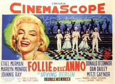 """There's No Business Like Show Business"" - Ethel Merman, Donald O'Connor, Marilyn Monroe, Dan Dailey, Johnnie Ra yand Mitzi Gaynor. Italian Movie Poster, 1954."