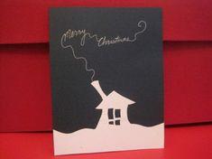 weiß häuschen weihnachtskarten ideen basteln schön