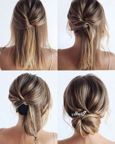 simple wedding hair This elegant hairstyle is also suitable for wedding.Low bun wedding hair can match your wedding dress. Bridal hair updo or bridesmaid hair updo is perfert for wedding hairstyles updo. Save it and dont hesitate to try it! Wedding Hairstyles Tutorial, Simple Wedding Hairstyles, Loose Hairstyles, Hairstyle Tutorials, Simple Wedding Updo, Bridal Hair Tutorial, Sock Bun Tutorials, Wedding Hair Tutorials, Short Hair Updo Tutorial