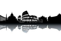 Vector: Rome skyline - black and white vector illustration