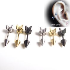 Cheap earrings brand, Buy Quality earings gold directly from China earring case Suppliers: 1 Piece Gold Silver Black Surgical Stainless Steel Earring Stud Punk Love Arrow Ear Tragus Piercing Fake Ear Taper For Men Women Tragus Piercings, Piercing Tattoo, Punk Earrings, Cheap Earrings, Gold Earrings, Ear Tapers, Stainless Steel Earrings, Jewelry Accessories, Beauty