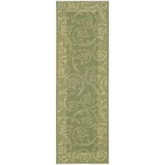 @Overstock.com - Indoor/ Outdoor Oasis Olive/ Natural Runner (2'4 x 9'11) - This outdoor rug has a olive background and displays stunning panel color of natural. This power-loomed rug is resistant to mold, mildew, sun, water and other elements.  http://www.overstock.com/Home-Garden/Indoor-Outdoor-Oasis-Olive-Natural-Runner-24-x-911/5300462/product.html?CID=214117 $43.25