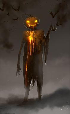 Halloween, All Hallows Eve, Trick or Treat, Witch, Goblin, Ghost, Black Cat, Bat, Skull, Ghouls, Scarecrow, Grim Reaper, Jack-O-Lantern, Pumpkin, Spooky, Scary, Haunting, Creepy, Frightening, Full Moon, Autumn, Fall, Magic Potion, Spells, Magic, Haunted -  Mr Pumpkin by telthona.deviantart.com