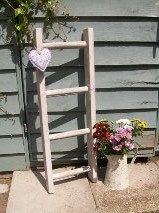 Shabby Chic Handmade Vintage Style Wooden Ladder or Towel Rail - White Washed or Natural / Bare Wood