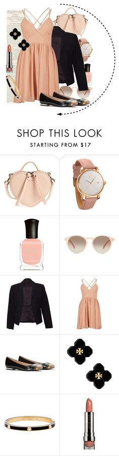 """""""Peachy"""" by juju-bees ❤ liked on Polyvore featuring Marc by Marc Jacobs, MVMT, Deborah Lippmann, GlassesUSA, Theory, Tory Burch, Henri Bendel and LORAC"""