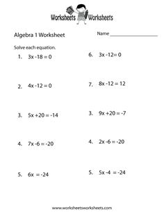 Printables Free Printable Algebra 1 Worksheets equation algebra worksheets and free on pinterest 1 practice worksheet to download print