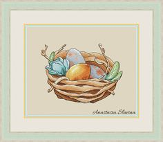 Easter nest cross stitch pattern Easter eggs cross stitch nest with eggs cross stitch Easter decoration cross stitch golden egg cross stitch Counted Cross Stitch Patterns, Cross Stitch Charts, Cross Stitch Designs, Cross Stitch Embroidery, Cross Stitch Tutorial, Magic Design, Spring Design, Cute Fox, Back Stitch