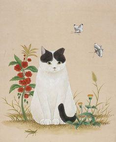 73648d1e87a22cb485be7e7723400d4e_1500256 Cat Plants, Illustrations, Illustration Art, Korean Painting, Oriental Cat, Cat Posters, Korean Art, Cat Colors, Japan Art