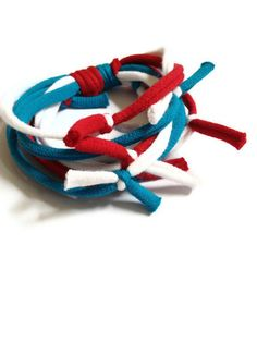 Upcycled/Recycled Tshirt Bracelet  Red White by looneyjoontees, $5.00