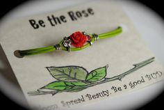 Rose leather bracelet. Be the rose. Spread beauty. Be a good bud. Grow. Made by Dizzy Bees, find Dizzy Bees on Facebook.