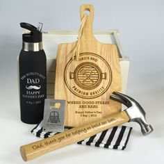 Ultimate Father's Day Hamper - Hammer, Chopping board, Credit Card Bottle Opener & Sports Bottle