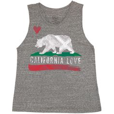 Billabong Women's Bears Republic Muscle Tank ($12) ❤ liked on Polyvore featuring tops, shirts, tank tops, dark athletic grey, t-shirt/prints, grey tank, gray tank, billabong tank, bear shirt y graphic shirts