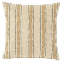 """Make waves with this ocean-hued indoor/outdoor pillow. Made of eco-friendly, durable PET and featuring a versatile stripe in seafoam blue and ivory, its an easy and affordable way to switch up your decor.   • 100% PET shell; 100% polyester fill.  • 22"""" x 22""""."""