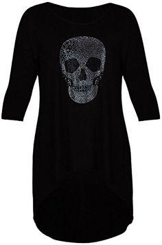 Ladies Womens High Low Skull Cross Stud Tunic 3//4 Sleeve Dip Hem Top Plus Size