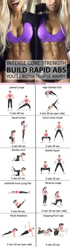#womensworkout #workout #femalefitness Repin and share if this workout gave you rapid abs! Click the pin for the full workout. http://www.weightlossjumpstar.com/types-of-exercise-to-lose-weight/