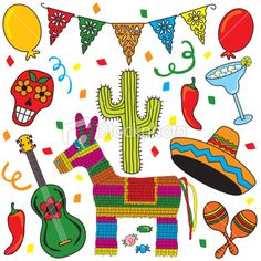 Illustration of Clip art Mexican Fiesta individually grouped. Great for Cinco de Mayo! vector art, clipart and stock vectors.