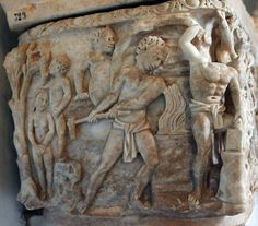 Roman marble sarcophagus, myth of Prometheus are carved, here we see a men working at a forge, presumably Vulcan-Hephaistos and his helpers. 3th century CE,  Capitoline Museum, Rome