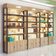 Cosmetic Display, Cosmetic Shop, Salon Shelves, Supermarket Design, Display Shelves, Shop Shelving, Salon Interior Design, Store Interiors, Store Design