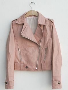 rosy pale pink leather jacket!