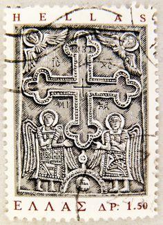 beautiful stamp Hellas Greece postage 1.50 Dr. relief cloister Athanasios (Leukas)