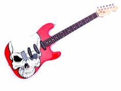 SKULL - STRAT red strat style electric guitar with chrome tremolo bridge #Unbranded