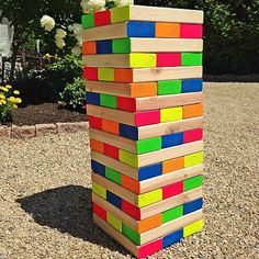 Giant Neon Outdoor Wooden Block Game -- Create a family-friendly outdoor game. #decoartprojects