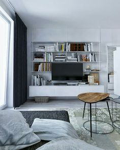 Interior design with Scandinavian elements and a collection of pop visualisation in program One Bedroom Apartment, 3d Visualization, Art 3d, Bratislava, Scandinavian, Pop Art, Bookcase, Shelves, Interior Design