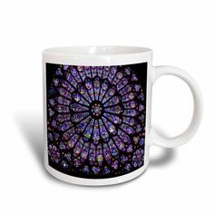 3dRose Notre Dame Cathedral Stained Glass, Ceramic Mug, 11-ounce
