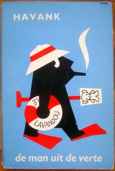 HAVANK - man with cigar going to the beach illustration by Bruna Vintage Book Covers, Vintage Children's Books, Vintage Posters, Typography Prints, Graphic Prints, Poster Prints, Beach Illustration, Graphic Design Illustration, Book Cover Design