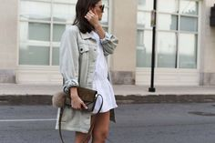 More on www.fashiioncarpet.com  Long Denim Jacket by 5 Preview, Playsuit by Zara, Chloé Faye Small Bag, Jimmy Choo Dei 100 Lace up Heels  #fashiioncarpet #ninaschwichtenberg