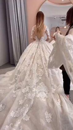 Little Girl Wedding Dresses, Puffy Wedding Dresses, Wedding Dress Bustle, Affordable Wedding Dresses, Dream Wedding Dresses, Bridal Dresses, Wedding Gowns, Ball Dresses, Ball Gowns
