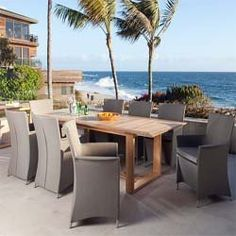 """Apollo 9pc Luxury Outdoor Furniture Set by Westminster Teak. $7295.00. 5 Year Warranty against Manufacture Defects. Table: 72/ 90"""" Wide x 39"""" Deep x 29.5"""" High. Teak Furniture with quality rated """"Best Overall"""" by the Wall Street Journal. Chair - Length 23"""" x Width 24"""" x Height 36"""" Seat Width - 18.5"""". Set consist of 1 Horizon Teak  Extension Table with 8 Taupe Apollo Armchairs. The Apollo Horizon Extendable Teak Dining Set consist of 1 Horizon Teak  Extension Table comp..."""