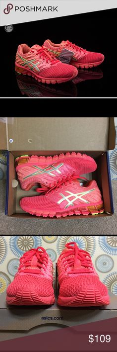 ASICS Gel Quantum 180 2 Running Shoes These are brand new ASICS GEL-Quantum 180 2 Women's Running Shoes.  Style - T6G7N  Color - Diva Pink/Silver/Coral Pink Size - 6.5 (True to size) MSRP $130  Breathable mesh and GEL cushioning where you need it most put the focus on comfort with this high-performance running shoe.  - Round toe with bumper - Contrast construction - Asics brand logo - Lace-up closure - Padded tongue and collar - Removable padded insole - Rubber bumper - Grip sole  Materials…