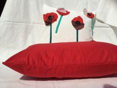 Housse de coussin 30 x 50 cm, collection Papoulina, tissu rouge : Textiles et tapis par papoulina