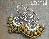 """This tutorial will teach you step by step how to make my earthy """"Namaste Earrings"""" using the brick stitch technique and some basic wire working and metal smithing techniques. This tutorial may be used for private use or to make earrings to sell. Wire Wrapped Jewelry, Wire Jewelry, Jewelry Crafts, Beaded Jewelry, Handmade Jewelry, Jewellery, Boho Jewelry, Do It Yourself Jewelry, Earring Tutorial"""
