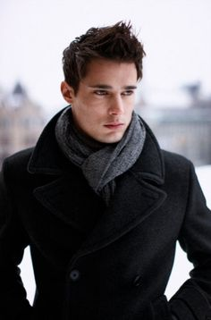 #StealHisStyle for sporting a scarf over collar of a peacoat. - BleuVous.com