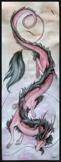 This is a little gift for Just saying thank you. I had much pleasure with painting your beautiful dragon, it has such a lovely design I hope you'll like. Gift for Nuzma Fantasy Dragon, Fantasy Art, Fantasy Creatures, Mythical Creatures, Pink Dragon, Beautiful Dragon, Dark Art Drawings, Dragon Artwork, Animal Tattoos