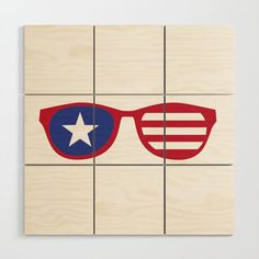Cool July Independence Day Design Wood Wall Art by American Pride, New Perspective, Baltic Birch, Wood Design, Wood Wall Art, July 4th, Independence Day, Squares, Wall Decor