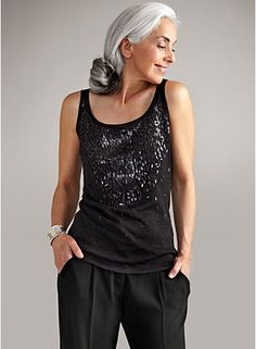 Scoop Neck Shell in Feathered Merino Knit & Sequins