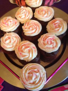 Chocolate Cupcakes with Cream Cheese frosting topped with Pink sprinkles