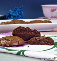 Galletas brownie de chocolate Brownie Cookies, Quick Snacks, Chocolate Brownies, Blondies, Deserts, Muffin, Dessert Recipes, Cooking Recipes, Sweets