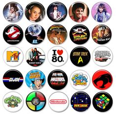 "80's buttons - I had a few of these - wish there was a ""gag me with a spoon"" button with this batch ;-)"