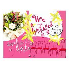 Bubblegum Pink Wedding Save the Date Postcard