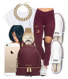 """."" by honey-cocaine1972 ❤ liked on Polyvore featuring CC, Converse, Michael Kors, Topshop, women's clothing, women, female, woman, misses and juniors"