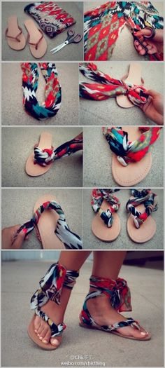 DIY sandals. From flip flops to wrapped sandles;  Very Pretty. Perfect when you find an awesome fabric and don't know what to make with it! Those wrapped can cost way too much...diy sounds way better to me!