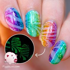 PiggieLuv: OPI Color Paints glitter gradient with glowy watermarble nail art
