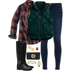Perfect fall outfit -- jeggings, flannel, boots, and a vest!
